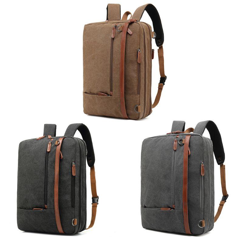 THINKTHENDO 17 pouces Convertible pochette d'ordinateur sacs à bandoulière sac à dos toile multi-fonctionnelle sac à dos