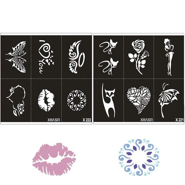 Air Brosse Glitter Pochoir De Tatouage Chat Ange Coeur Fleur