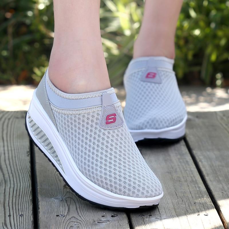 2016 Verano Zapatos Mujeres Causal Zapatos Moda Caminar Pisos Altura - Zapatos de mujer - foto 5