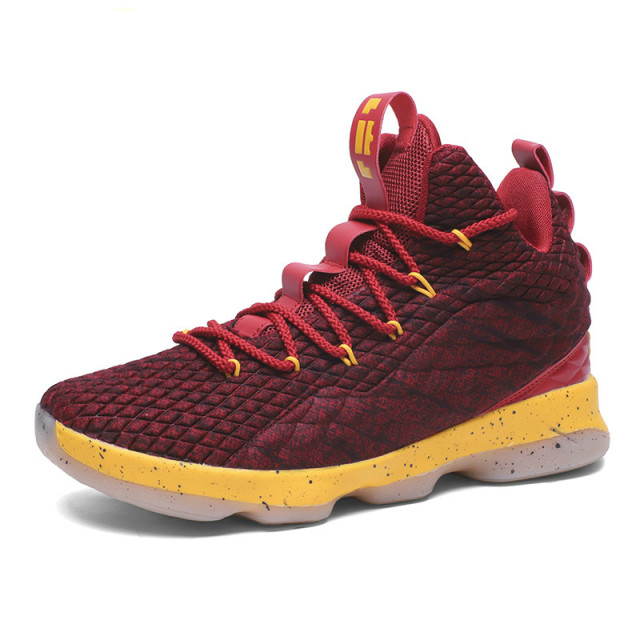 945a6170f31d 2018 New Arrival High Top Men Cushioning Lebron James Basketball 15 Shoes  Shockproof Couple Athletic Women Outdoor Sport Shoes