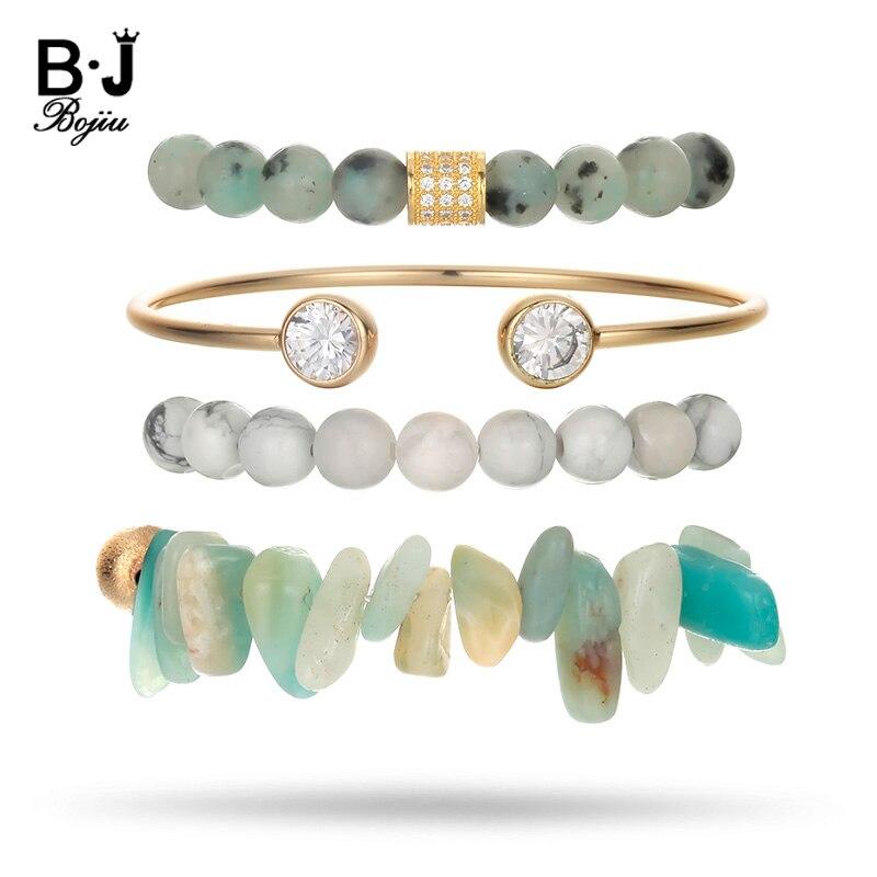 BOJIU Naturel Pierre De Cuivre Zircon Bracelet Ensembles Pour Femmes De Mode D'été Perles Bracelet Femme Charme Bracelet Set Bijoux BCSET63