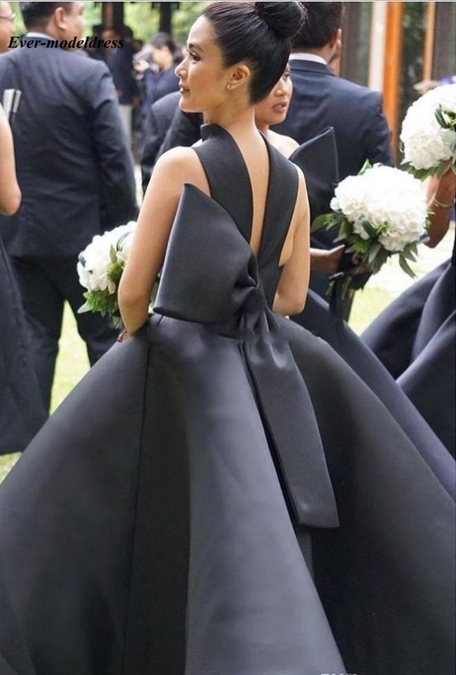 Lovely Ankle length Bridesmaid Dresses 2019 Backless Big Bow Short Black Maid of Honor Wedding Guest Party Gowns Plus Size