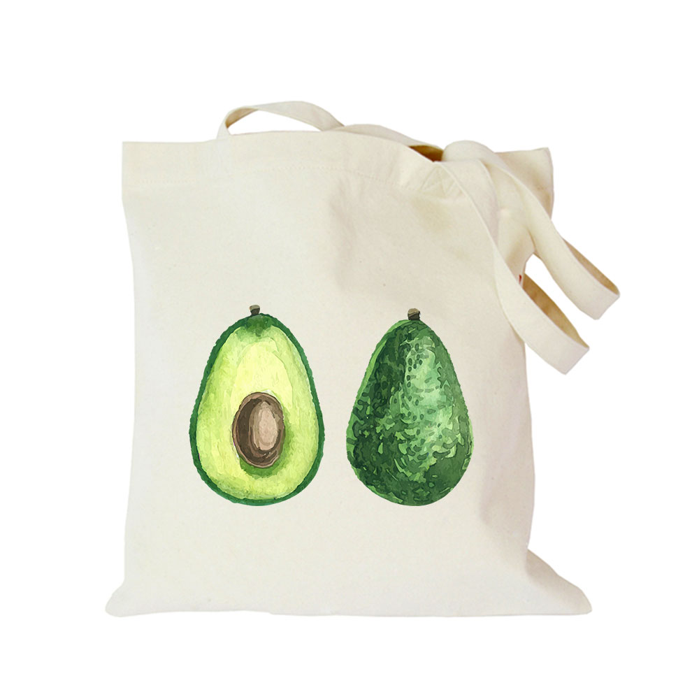 Origina kawaii canvas avocado custom tote bag customize eco diy logo shopping bag with logo (2)