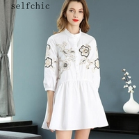 2018 Summer White Casual Dress Women Embroidered Beading Party Dresses