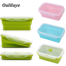 1PCS Silicone Lunch Bento Box Collapsible Retractable For Storage Dinnerware Food Container Children Outdoor Camping