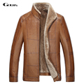 Gours Winter Men's Genuine Leather Jackets Brand Brown Goatskin Jacket and Coats with Fur Wool Collar Warm 2016 New Arrival 4XL