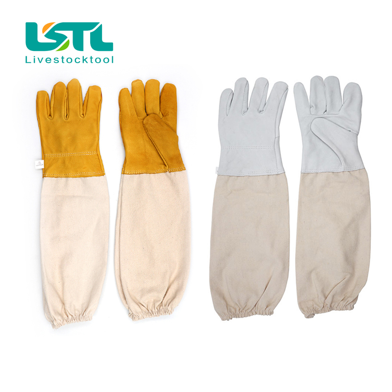 Anti Bee Gloves Beekeeping Protective Goatskin Gloves Long Sleeves Ventilated Professional Apiculture Beekeeper Clothing