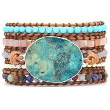 سوار من الحجر الأزرق المحيط طراز بوهيمي 5X سوار من الجلد لتغليف الصداقة مجوهرات بوهيمية أنيقة سوار بوهيميأساور التفاف