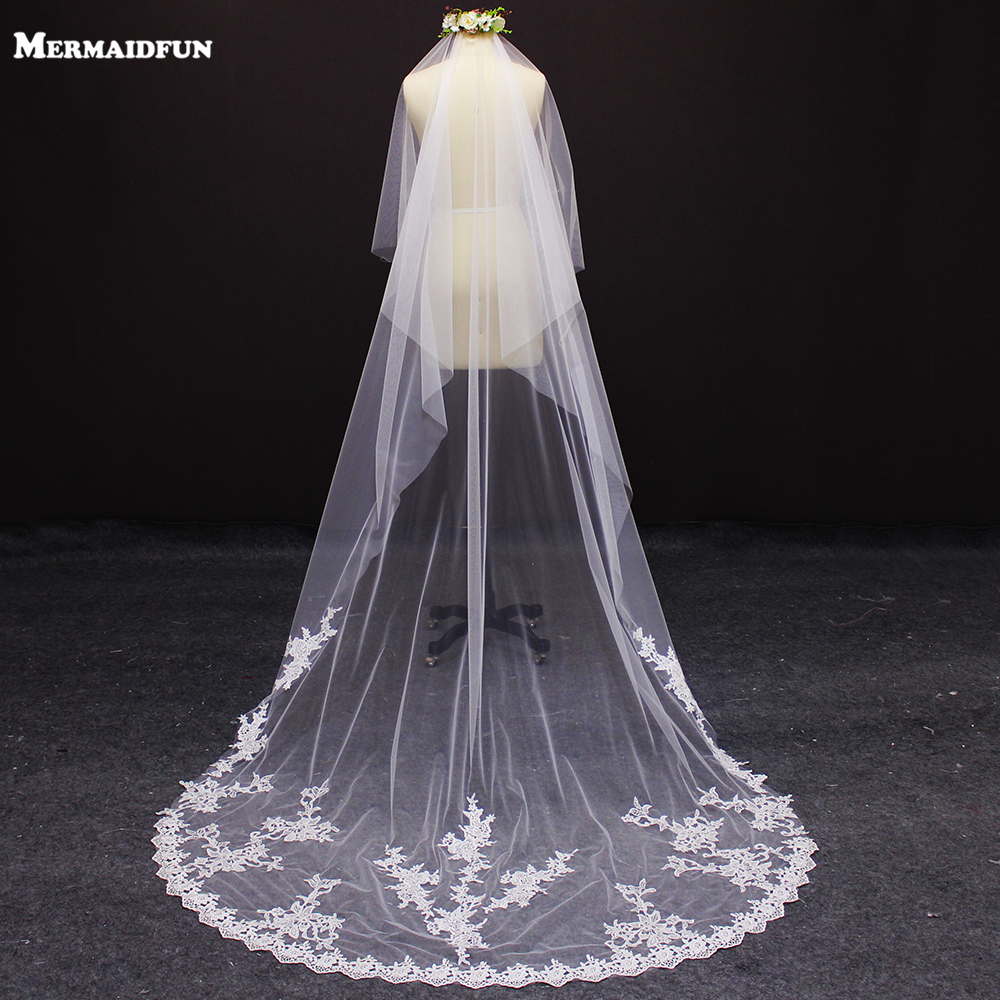 Real Photos 3 Meters One Layer Lace Wedding Veil WITHOUT Comb White Ivory Beautiful Bridal Veil for Wedding