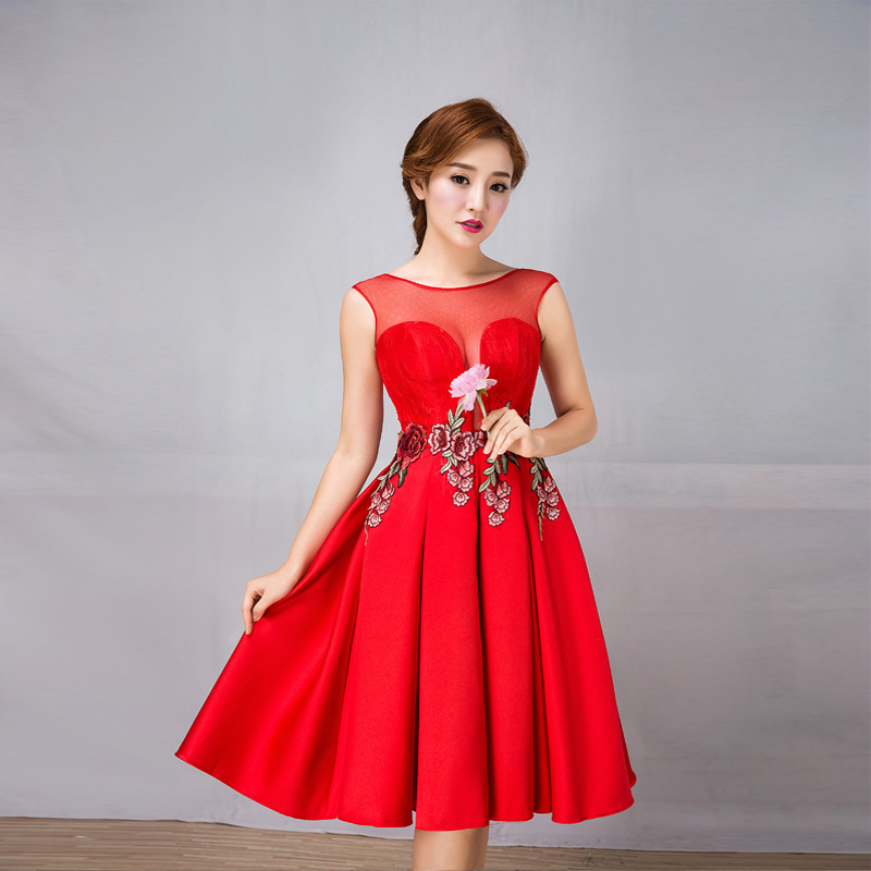 U-SWEAR 2019 New Arrival Women   Bridesmaid     Dresses   Sleeveless O-neck Illusion Elegant Flower Embroidery Pleat   Bridesmaid     Dress
