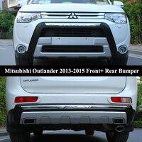 Подходит для Mitsubishi Outlander 2013 2015 спереди + задний бампер диффузор Бамперы для автомобиля губ протектор гвардии опорная плита ABS Chrome отделка 2pes