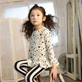 kids girls t shirt long sleeve stars pattern cute one neck Wild children clothes cotton blouse for girl white clothing 2-7T