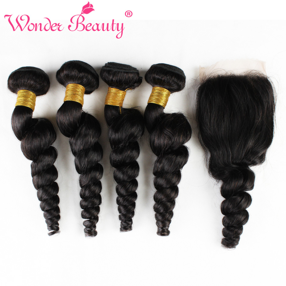 Wonder Beauty Brazilian Loose Wave 4 Bundles With Closure 5 hair pieces deal non Remy weaves