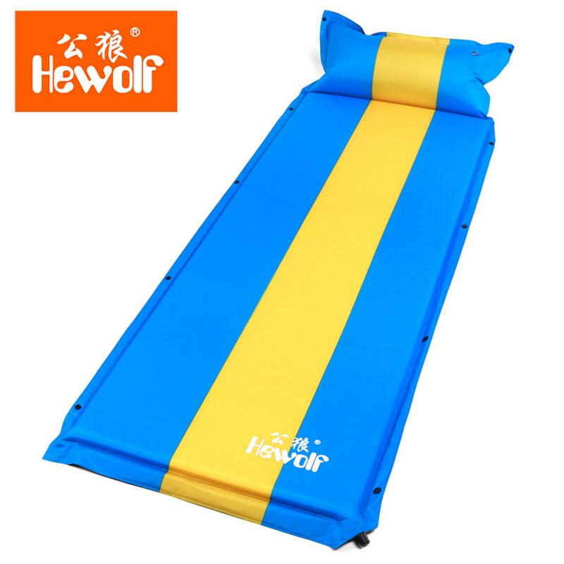 ФОТО Hewolf Outdoor Camping Automatic inflatable mattress with pillow can be spliced Hiking Travel Ultralight Folding Air Bed Mat
