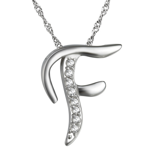 200b7eac091c 10pcs lot New Fashion Silver Crystal Alphabet Letters F Pendant Necklace  Clavicle Chain for Women Jewelry