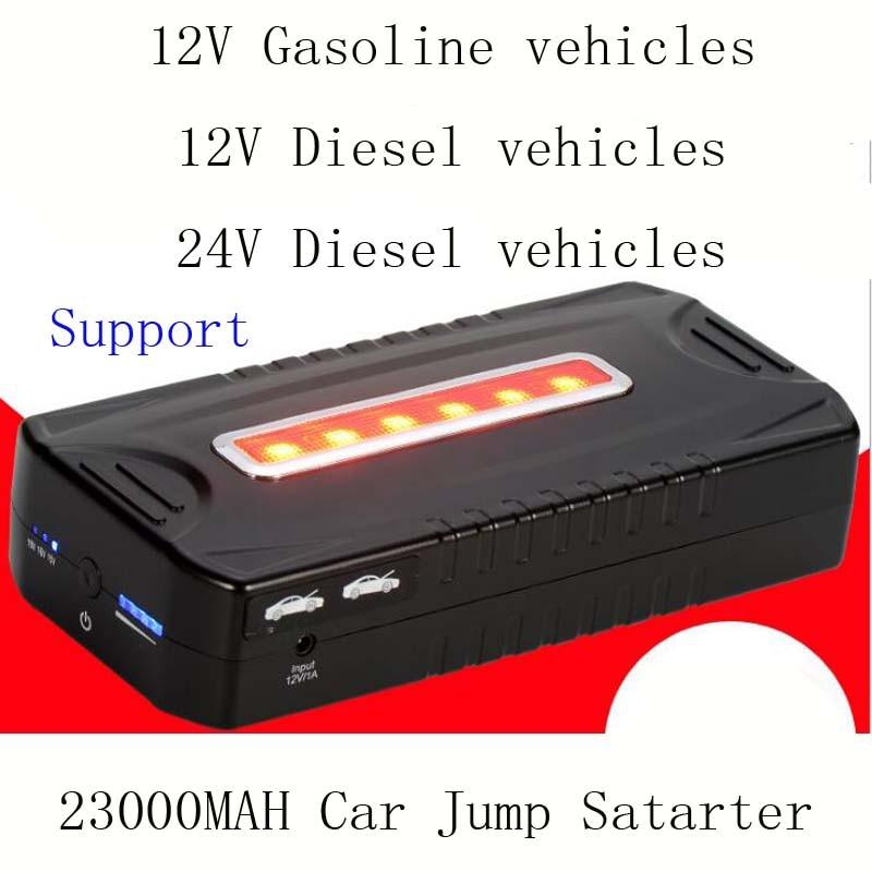Nouveau 23000 mAh Démarreur Voiture De Saut Mini Portable D'urgence Chargeur De Batterie de Voiture Travail de banque de Puissance 12 V 24 V Essence Diesel Véhicules