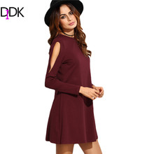 DIDK Casual Dresses For Ladies Autumn Womens Burgundy Round Neck Long Sleeve Open Shoulder A Line Swing T-shirt Dress