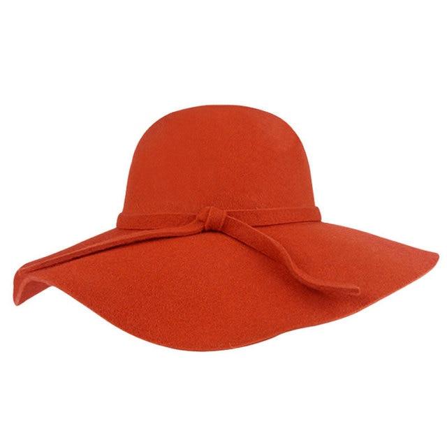 2016 Fashion New Vintage Women Ladies Floppy Wide Brim Wool Felt Fedora Cloche Hat Cap 6 Color Free Shipping R2