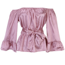 Satin flare sleeve Black Pink Women Apparel sexy off shoulder bow blouse shirt summer tops Elegant party women blouses blusas