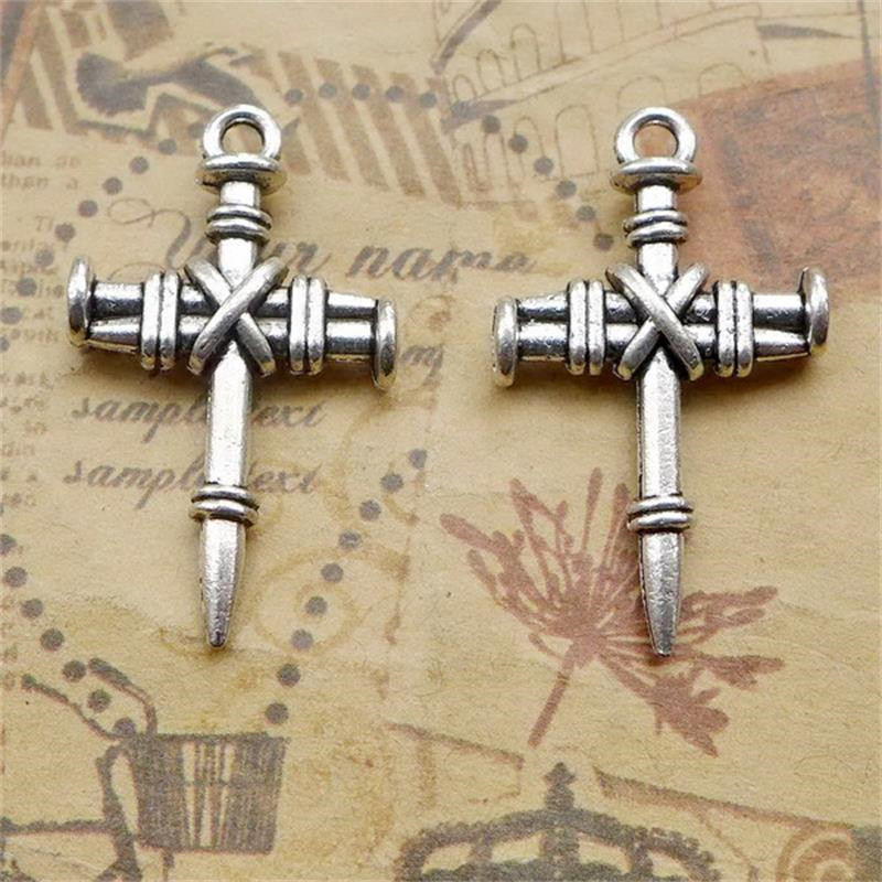 BULK 30 Zinc Alloy Metal Jesus Cross Charms Antique Silver Plated Religious Pendants DIY Jewelry Making 24.5*20mm 2.7g