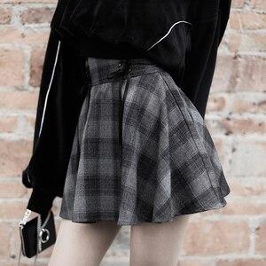 Image 4 - Nouveau gothique printemps automne gris Plaid jupes Shorts femmes plissée jupe courte Punk fille s jupe courte a ligne Mini jupe