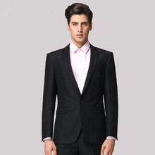 Custom Made!One Buttons Groom Tuxedos  Black Best man Notch Lapel  Men Wedding Suits Prom Form Bridegroom  ( jacket+pants)