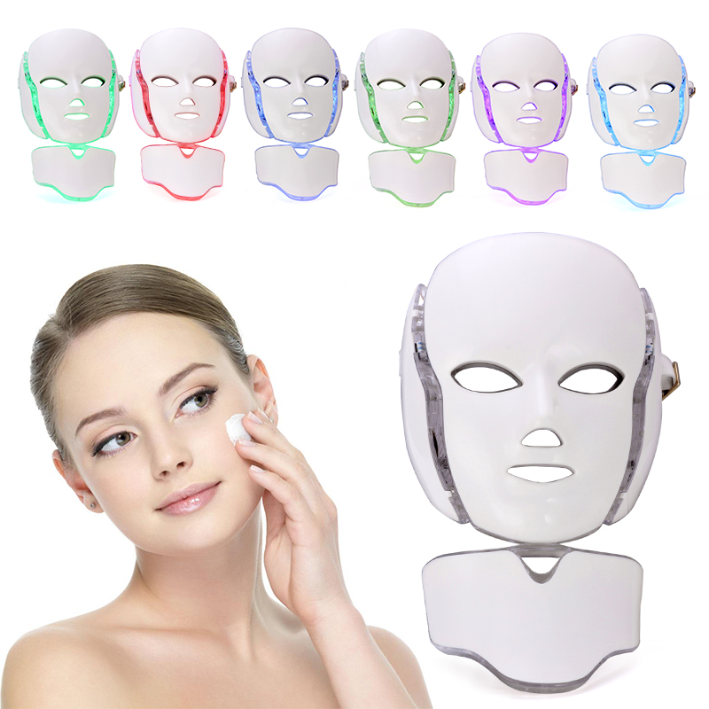 LED Facial Mask 7 Color LED Photon Facial Mask Wrinkle Acne Removal Face Skin Rejuvenation Facial Massage Beauty Mask beurha facial mask led photon wrinkle acne removal beauty spa facial care led device skin rejuvenation electrical skin care tool