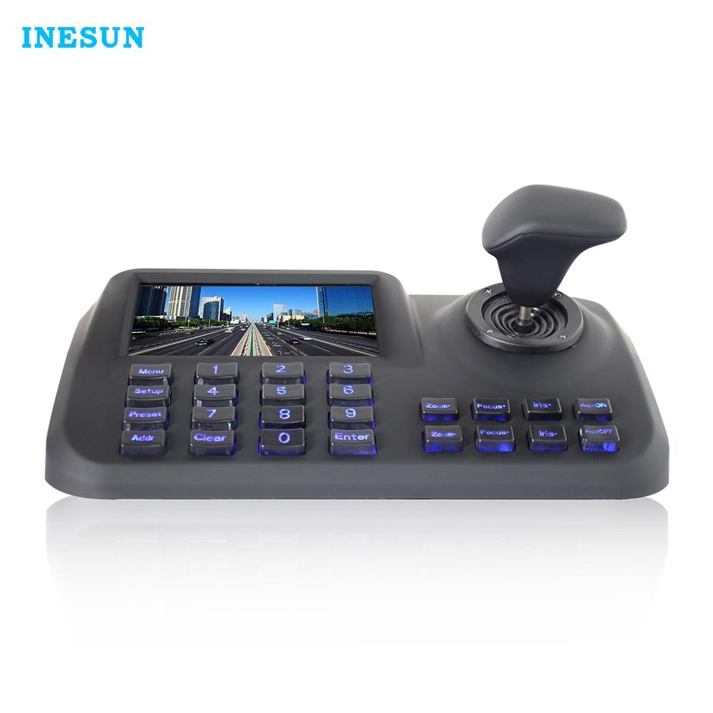 Inesun 5 polegada 3D Joystick Teclado Controlador de Rede ONVIF HD Display LCD Controlador de Teclado Para High Speed Dome PTZ IP câmera