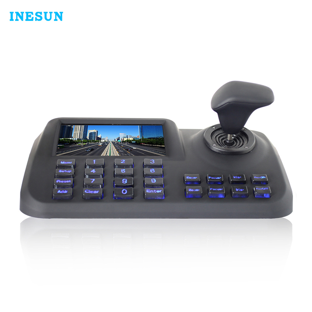 Inesun ONVIF Network Keyboard Controller 5 inch 3D Joystick HD LCD Display IP PTZ Keyboard Controller For High Speed Dome Camera