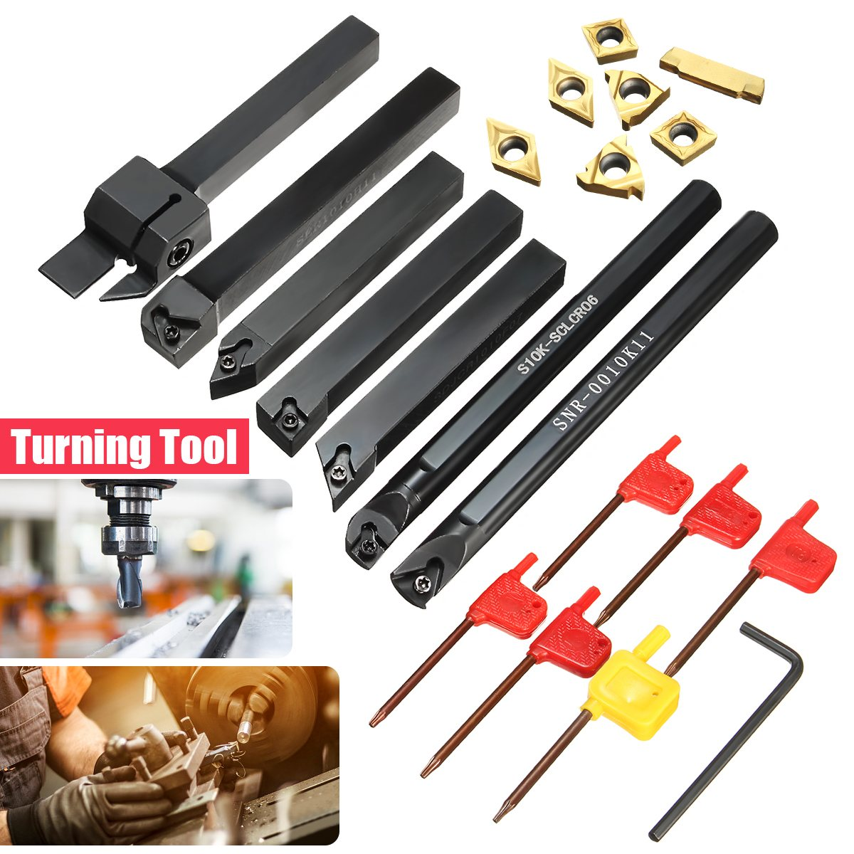 New 7pcs 10mm Boring Bar Lathe Turning Tool Holder with Gold Inserts with 7pcs T8 Wrenches ser1616h16 holder external thread turning tool boring bar holder with 10pcs 16er ag60 inserts
