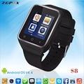 ZGPAX S8 3 Г Смартфоны MTK6572 Поддержка sim-карты Bluetooth Смарт-Наручные смотреть СИМ Телефон Для Андроид и IOS iPhone Samsung LG Sony