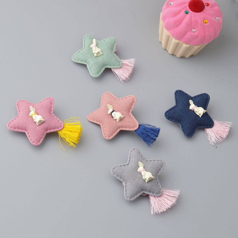YYXUAN Babie Girl Rabbit Hairpins Star Tassel Hair clip Hairpin Accessories   Cat HairClip 1 pieces 12 colors cute girls hairpins children elsa side knotted clip hairpin hair clip small size hair accessories