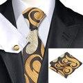 Moda de Seda Jacquard Corbata Marrón y Amarillo Novedad Corbata Hanky Gemelos Conjunto Para Los Hombres de Negocios Del Banquete de Boda C-1182