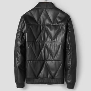 Image 3 - Luxury Sheepskin Down Jackets Man Warm Genuine Leather Bomber Jacket Mens Long Sleeve Winter Real Leather Stand Aviation Coats