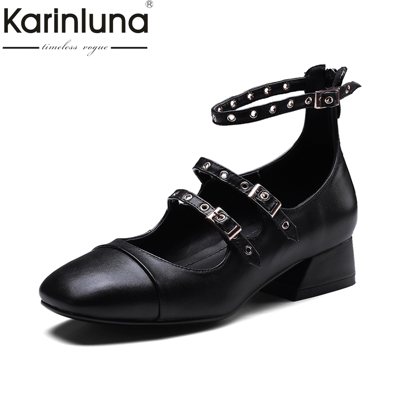 KarinLuna 2018 Spring Autumn Genuine Leather Size 34-39 Fashion Square Toe Mary Jane Pumps Woman Buckle Hoof Heels Women Shoes цена