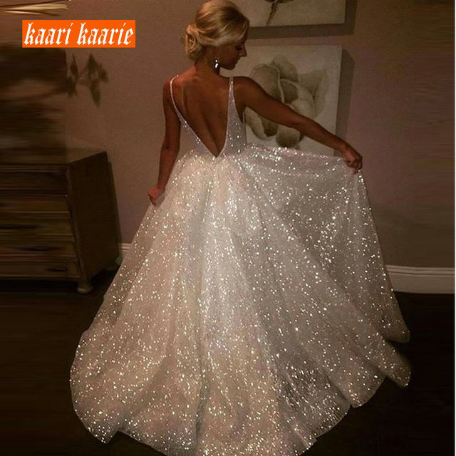 Fashion Ivory Long Wedding Dress 2019 Sexy Wedding Gowns For Women Bohemian V-Neck Sequins Lace Backless Beach Bridal Dresses