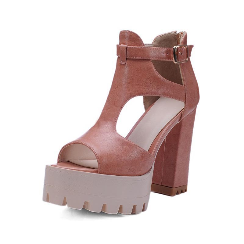 2017 Gladiator Sandals Women Summer Classics Square High Heels Ladies Platform Buckle Shoes Woman Sexy Zipper Casual Pumps Shoes phyanic 2017 gladiator sandals gold silver shoes woman summer platform wedges glitters creepers casual women shoes phy3323