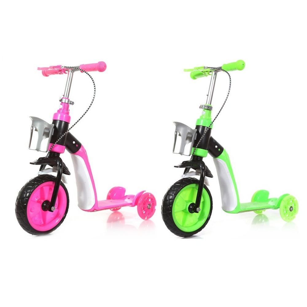 Children Scooter Three Wheels Slide Two In One Child Sliding Vehicle With Bottle Holder Adjustable Height Large Front Tyre three wheel with two seater twin dolls kang pedal three wheeled cart with awning four in one function