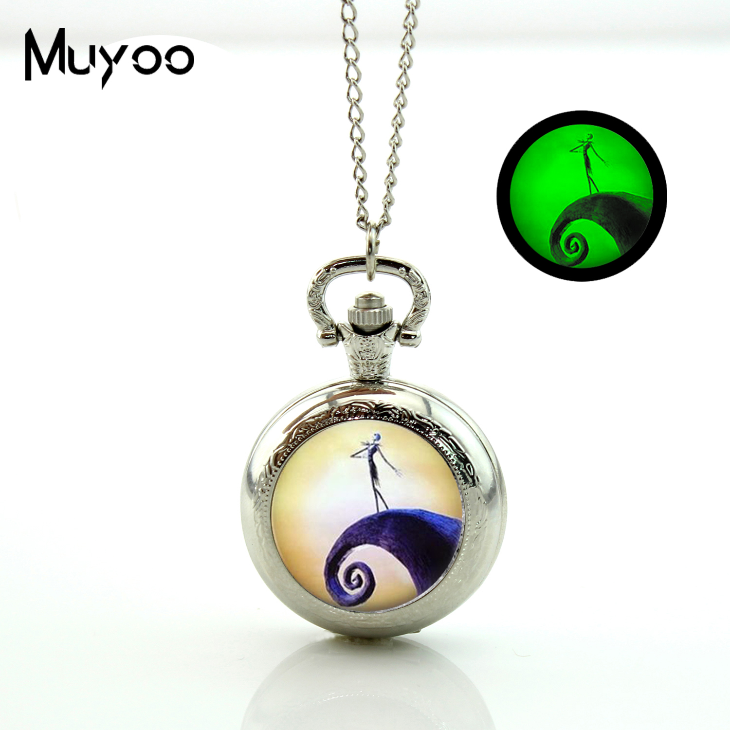 2017 New Nightmare Before Christmas Glowing Pocket watch Pendant Vintage Bronze Necklace Glow in the dark Jewelry Gifts Men