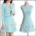 3D Flor Vestido Mulheres Ternos 2016 Outono Inverno Escritório Ladies Blazer Ocasional Elegante com Vestidos de Terno 2 Peça Definir Mulheres