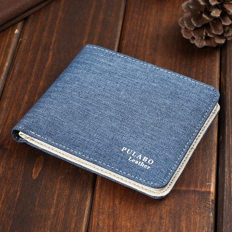 2017 Hot Sälj! Mens Short Denim Fabric Wallet Bästa Soft Canvas - Plånböcker - Foto 2