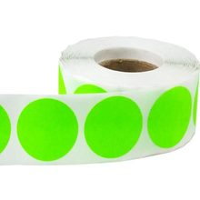 2 Fluorescent Green, Color Coding Inventory Labeling Dots , Permanent Adhesive Label, Writable Surface - 500 Stickers/ Roll