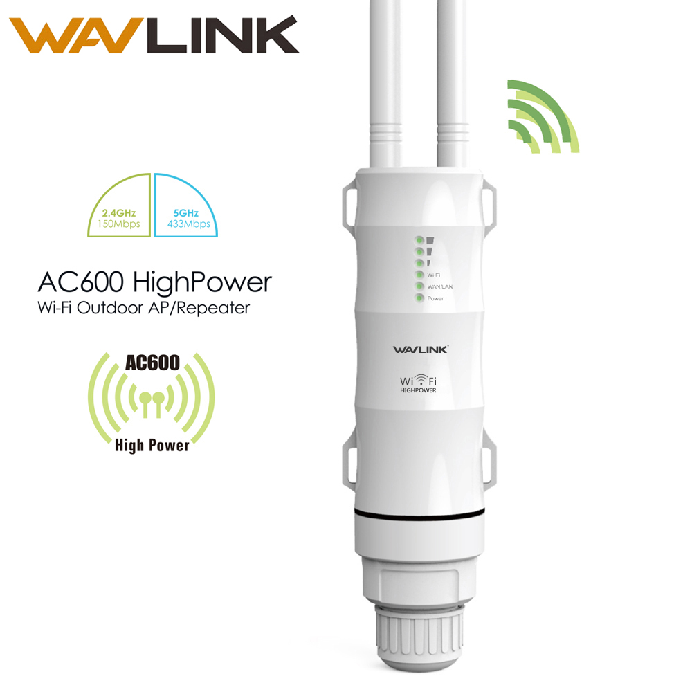 Wavlink AC600 30dbm High Power Outdoor Weerbestendige Draadloze Wifi Router / AP Repeater Dual Band 5G / 2.4G Buiten Afneembare Antenne