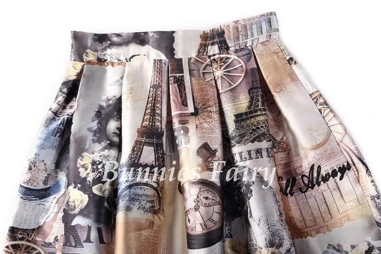 Vintage Retro Lady Newspaper Print High Waist Pleated Flare Midi Skirt 20