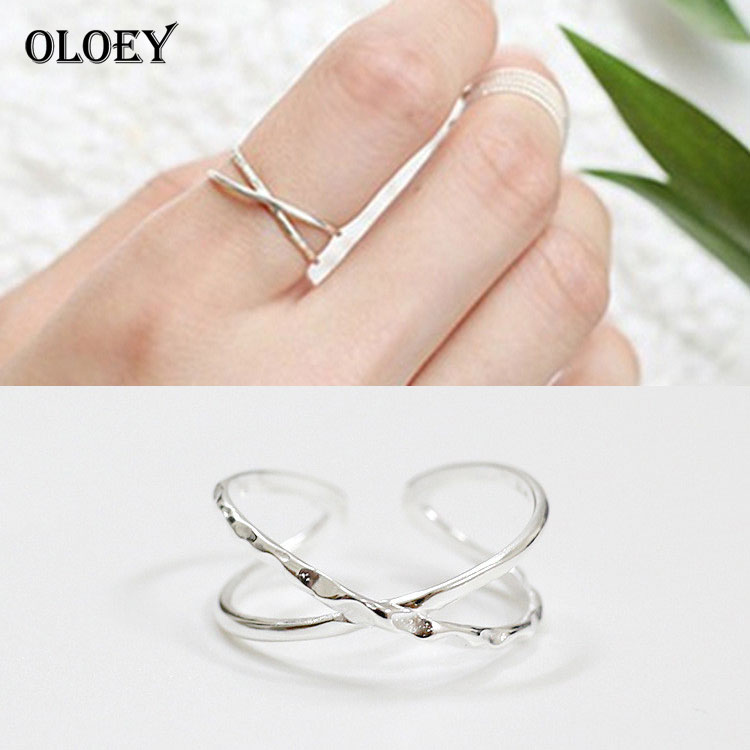 OLOEY Real 925 Silver X Hollow Cross Open Ring Contracted Simple Adjustable Finger Rings Fine Jewelry For Women Girls YMR059