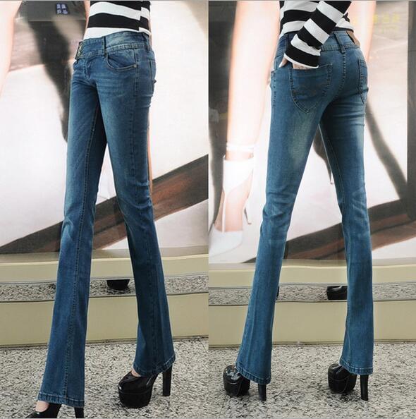 new brand jeans women flare retro style bell bottom Slim jeans female denim blue trousers denim