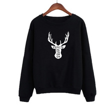 Fashion Hoodies Black White Christmas Harajuku Deer Graphic Printing Crewneck Sweatshirt Womens Tops Expecto Patronum Sayings christmas santa graphic pompon embellished sweatshirt