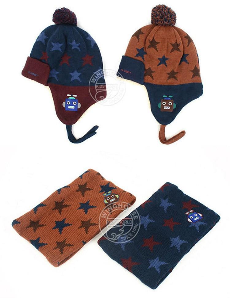 Winter Kids Estrella Patrón de Punto Grueso Sombrero + Bufanda ...