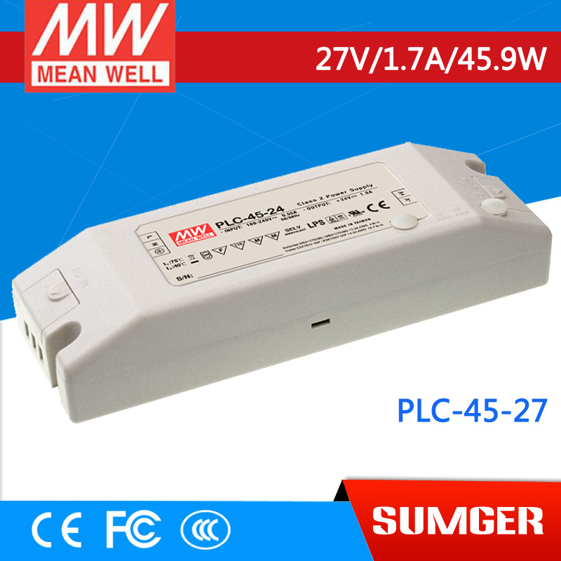 1MEAN WELL original PLC-45-27 27V 1.7A meanwell PLC-45 27V 45.9W Single Output LED Power Supply 1mean well original gc160a24 ad1 27 2v 5 89a meanwell gc160 27 2v 160 2w single output battery charger