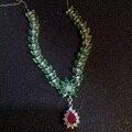 Super de lujo esmeralda y rubí collar colgante para el partido de tarde natural esmeralda y rubí joyería de la boda de plata maciza 925